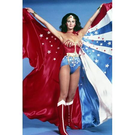 Full Length Cape (Lynda Carter in Wonder Woman full length holding up stars & stripes cape 24x36)