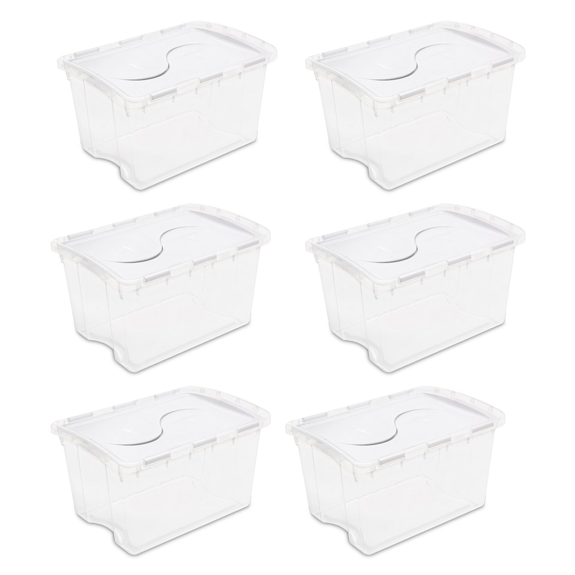 6 Pack Sterilite 19148006 48 Qt Clear Base Hinged Lid Storage Box Tote  Container