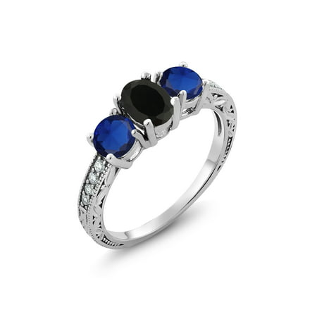 - 2.02 Ct Oval Black Onyx Blue Simulated Sapphire 925 Sterling Silver Ring