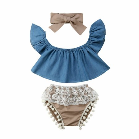 Short Girls Tube (3Pcs Cute Baby Girls Short Sleeve Blouse Off Shoulder Denim Tube Top+Lace Tassels High Waist Pom Pom Short)