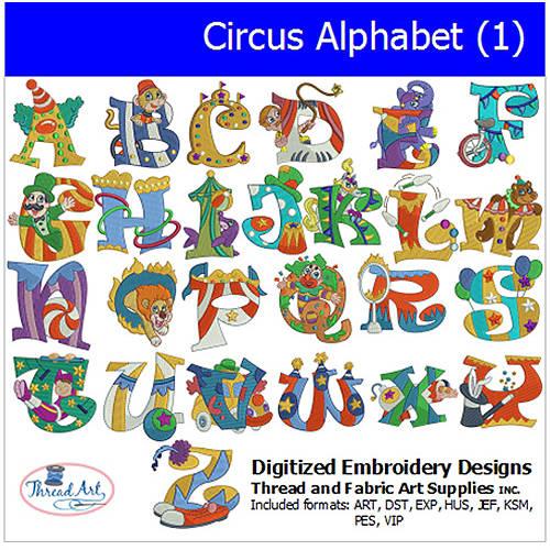 Threadart Machine Embroidery Designs Circus Alphabet (1) CD