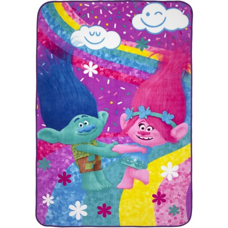 Trolls Plush Blanket, Kids Bedding, 62?x90?, Poppy and Branch