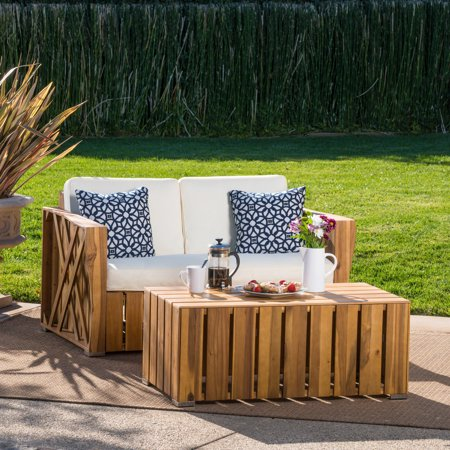 Ezra Outdoor Acacia Wood Loveseat and Coffee Table Set with Cushions, Natural Stained, Cream