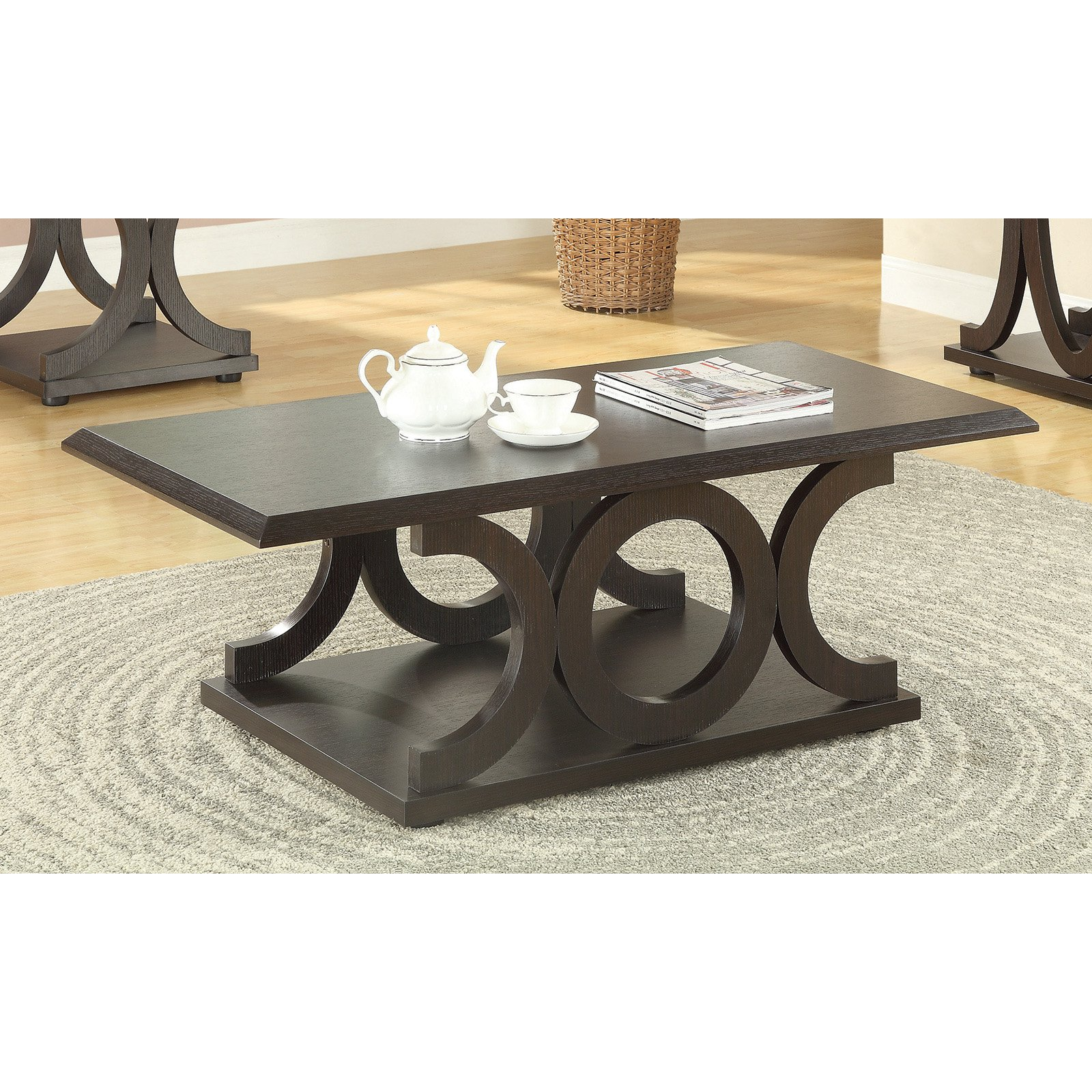 Coaster Furniture Wood Coffee Table Cappuccino by Coaster