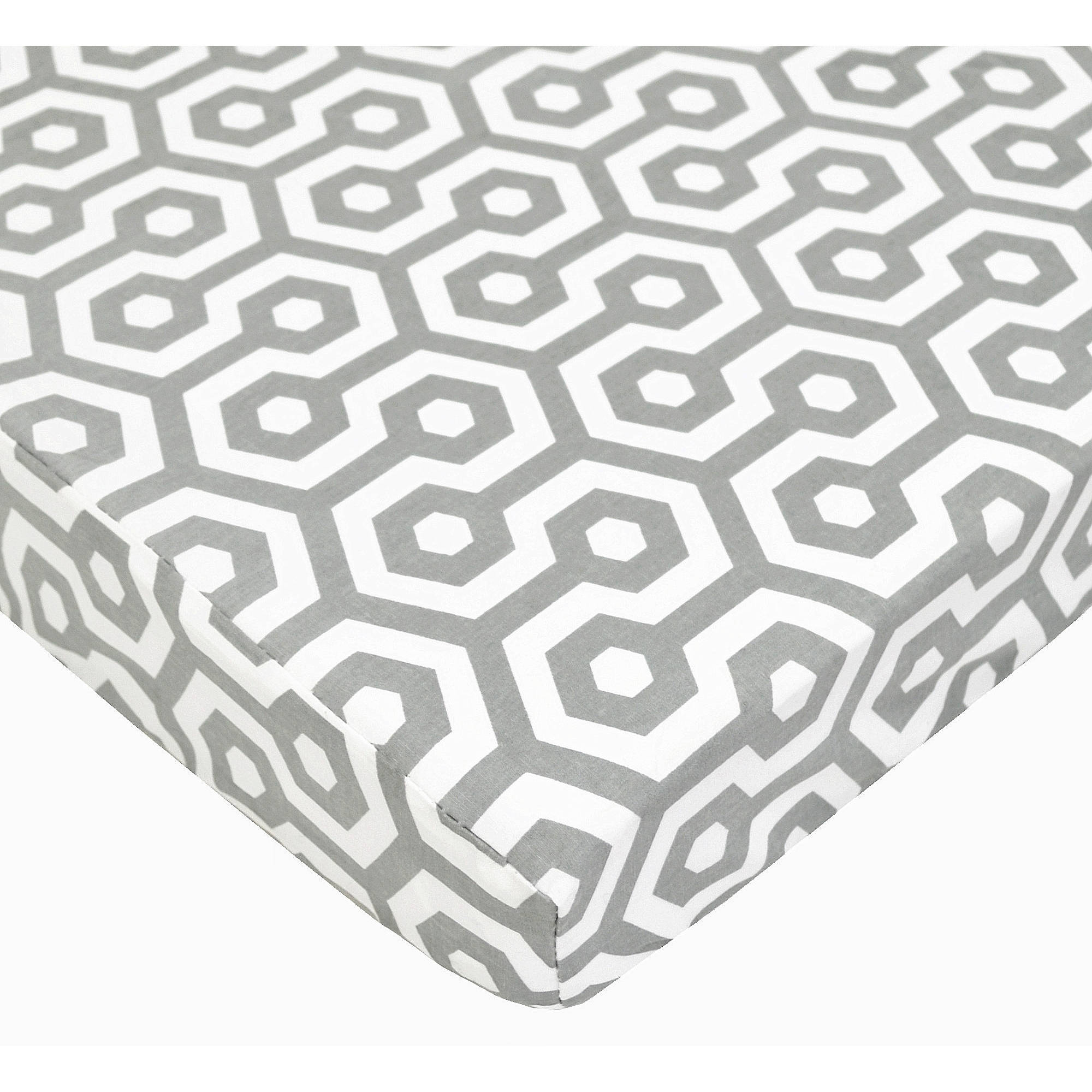 TL Care Cotton Percale Fitted Mini Crib Sheet, Grey Honeycomb