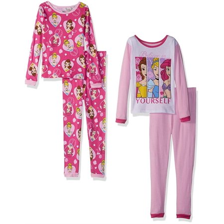 Disney Big Girls' Multi-Princess 4-Piece Cotton Pajama Set, Exceptionally Pink, Pink, Size: 4](Ariel Outfit)
