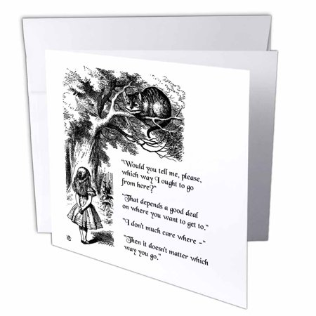 Cat From Alice In Wonderland (3dRose Which way ought I go from here Chesire cat - Alice in Wonderland quote, Greeting Cards, 6 x 6 inches, set of)