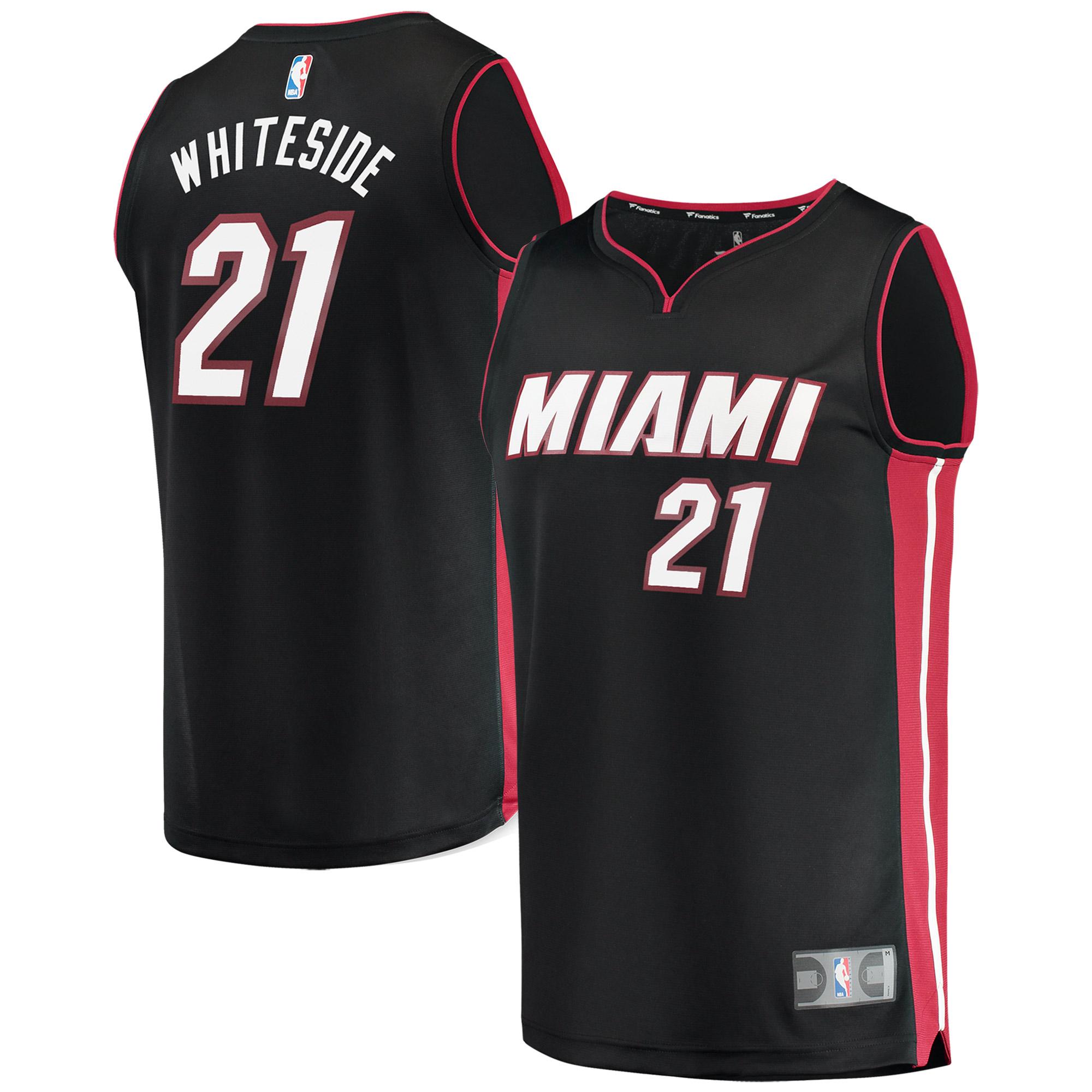 Hassan Whiteside Miami Heat Fanatics Branded Youth Fast Break Replica Jersey Black - Icon Edition