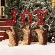 "Holiday Time 25"" Glittering Hedgehog with JOY Sign Light Sculpture, 3-Piece Set"