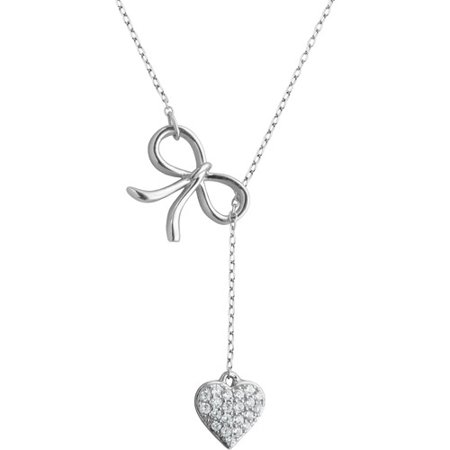CZ Sterling Silver Bow and Heart Necklace, 16.5