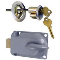 Chrome Metal Lock Cylinder and Interior Bolt Garage Door Deadbolt Only One