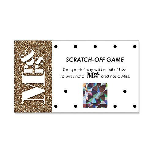 Mr. & Mrs. - Gold - Wedding Party Game Scratch Off Cards - 22 Count