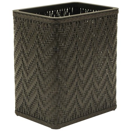 Elegante collection decorator color wicker wastebasket espresso - Elegant wastebasket ...