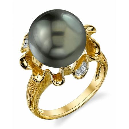 12mm South Sea Pearl Ring (12mm Tahitian South Sea Cultured Pearl & Diamond Robin Ring in 14K)
