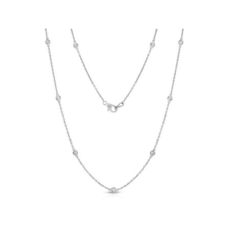 14K White Gold Diamond the Yard 10 Station Necklace (1/2 Ct, G-H, I1 Clarity), 18 Inches