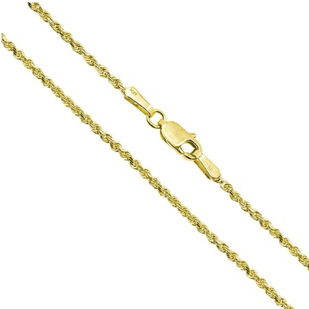 "14K Solid Yellow Gold 2mm Rope Chain Necklace 16"" 18"" 20"" 22"" 24"""