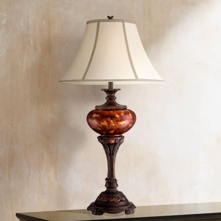 - Barnes and Ivy Traditional Table Lamp Florentine Bronze Metal Urn Tortoise Shell Glass Bell Shade for Living Room Family Bedroom