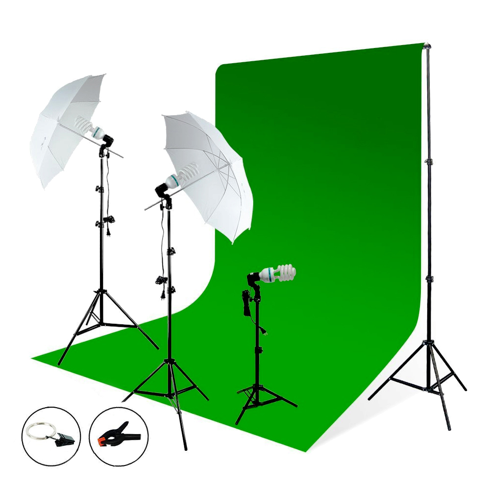 LimoStudio Photography Studio Video Photo ChromaKey Green Screen Background Support Kit 600W Output 3 Point Studio Photography Umbrella Lighting kit, LIWA87