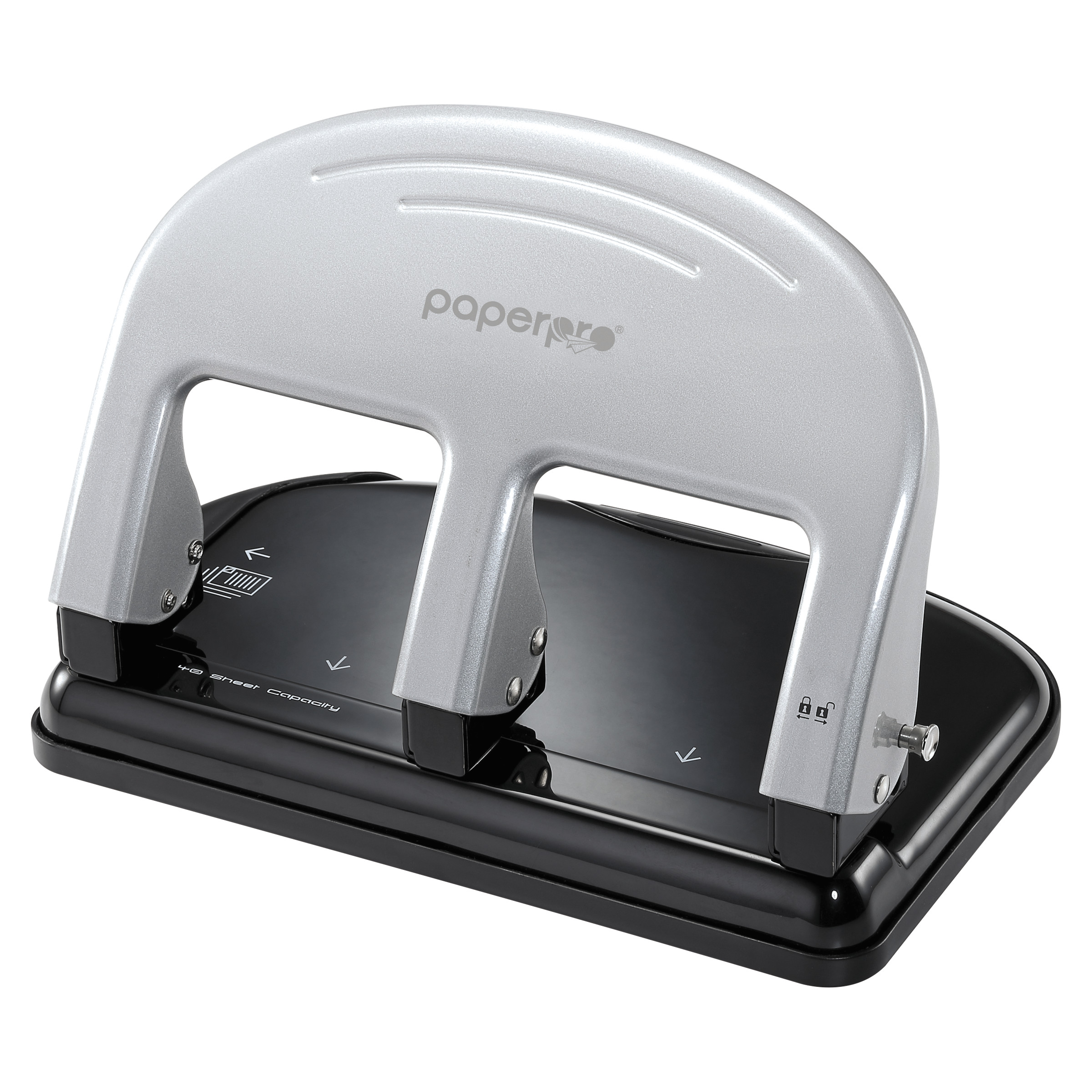 PaperPro inPRESS Three-Hole Punch, 40-Sheet Capacity, Black/Silver