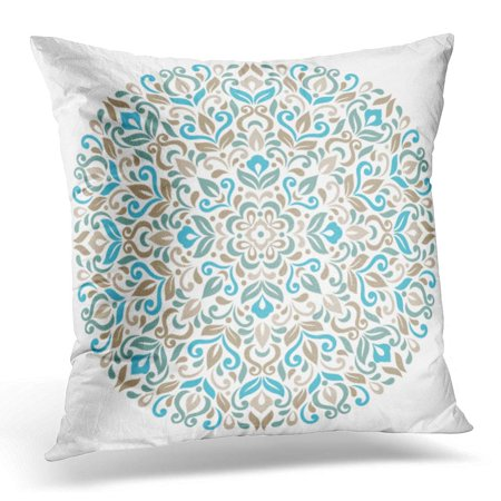ECCOT Abstract Colorful Circle Floral Ornamental Round Pattern Lace Beautiful Pillowcase Pillow Cover Cushion Case 18x18 inch