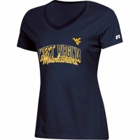 Women's Russell Athletic Navy West Virginia Mountaineers Arch V-Neck T-Shirt