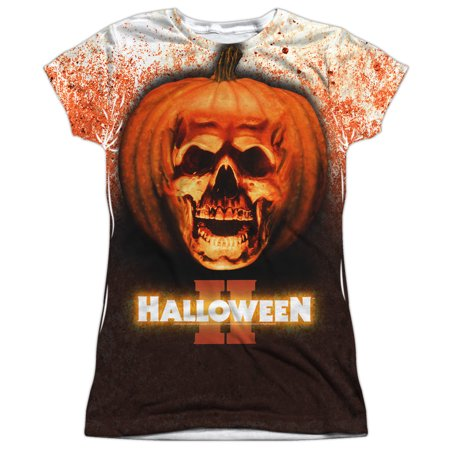Halloween II Pumpkin Skull Juniors Sublimation Shirt - Halloween 2 Pumpkin Skull