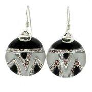 Tili Glass Aztec Black & White Round Glass Sterling Silver Earrings