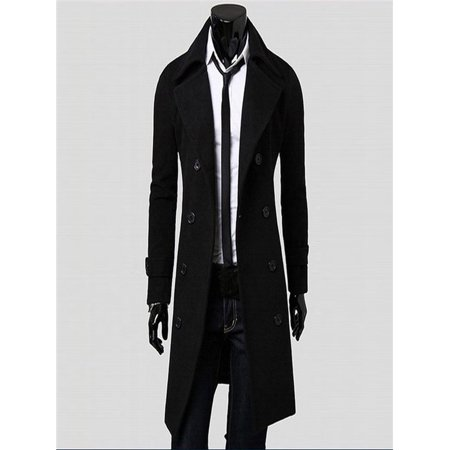 Winter Men Slim Stylish Trench Coat Double Breasted Long Jacket Parka BK/L