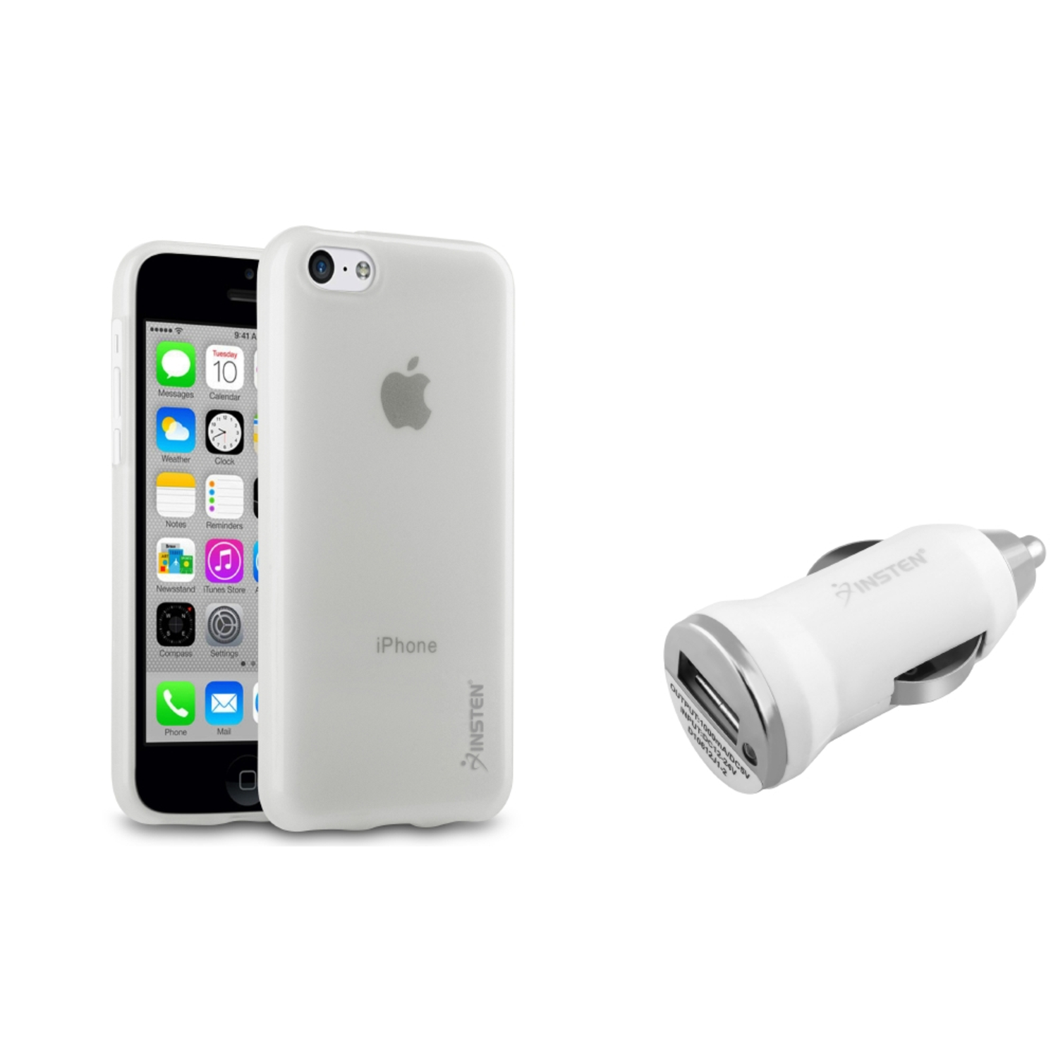 apple iphone 5c charger insten clear tpu rubber cover white car charger 13432