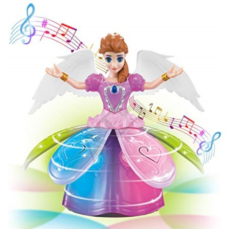ATS Bumpn Go Sing-Along Dancing Rotating Fairy Princess Musical Toy with Blossoming Petal Skirt and Wings | Battery Operated