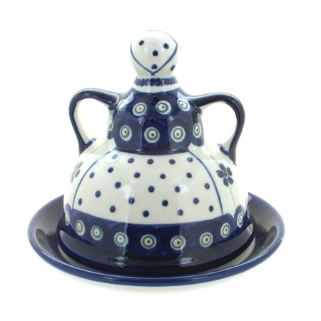 Pottery Cheese (Polish Pottery Flowering Peacock Small Cheese Lady )