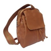 Small Leather Flap-Over Backpack in Saddle