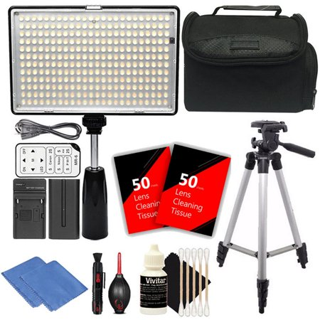 Lcd Panel High Brightness Video (Vivitar LED Video Light 288pcs LED Dimmable Brightness and Adjustable Color Temperature High Power Light Panel with Battery, Charger and Remote + Accessories )