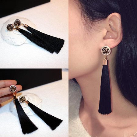 Elegant Earrings Vintage Style Long Fringe Dangle Earrings HFON