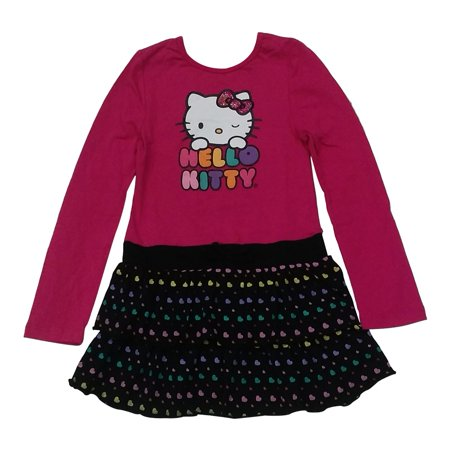 Weplay Baby Girls Fuchsia Black Hello Kitty Heart Print Tiered Dress