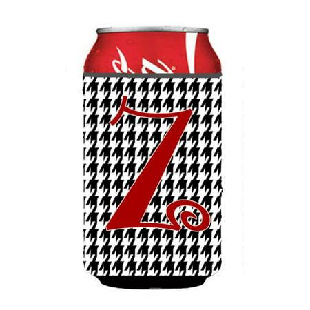 Letter Z Initial Monogram - Houndstooth Black Can Or Bottle  Hugger - image 1 de 1