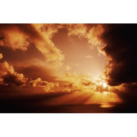 Orange Sunset Over Ocean Sunrays Bursting Through Puffy Clouds Canvas Art - Larry Dale Gordon  Design Pics (34 x (Savage Over And Under 410 22 For Sale)