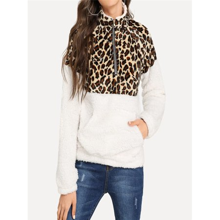 - Women's Long Sleeve Fleece Sweatshirt Warm Zip Leopard Fuzzy Hoodie Pullover