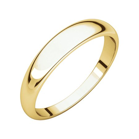 10K Yellow Solid Gold 4 mm Half Round Tapered Wedding Band Ring Size - Yellow Gold Half Round Tapered