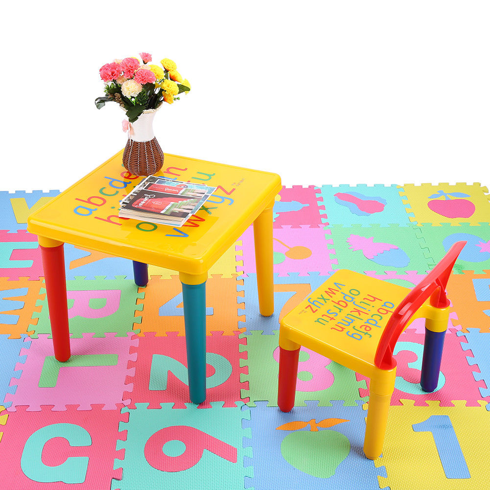 Superbe 2 Piece Table U0026 Chairs Plastic DIY Kids Set Play Toddler Activity Fun Child  Toy