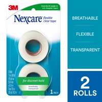 Nexcare Flexible Clear First Aid Tape, Hypoallergenic, Conforms to Body, 1-Inch X 10-Yards (Pack of 2)
