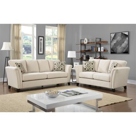 Furniture of America Shirley Fabric 2 Piece Sofa Set in Ivory ()