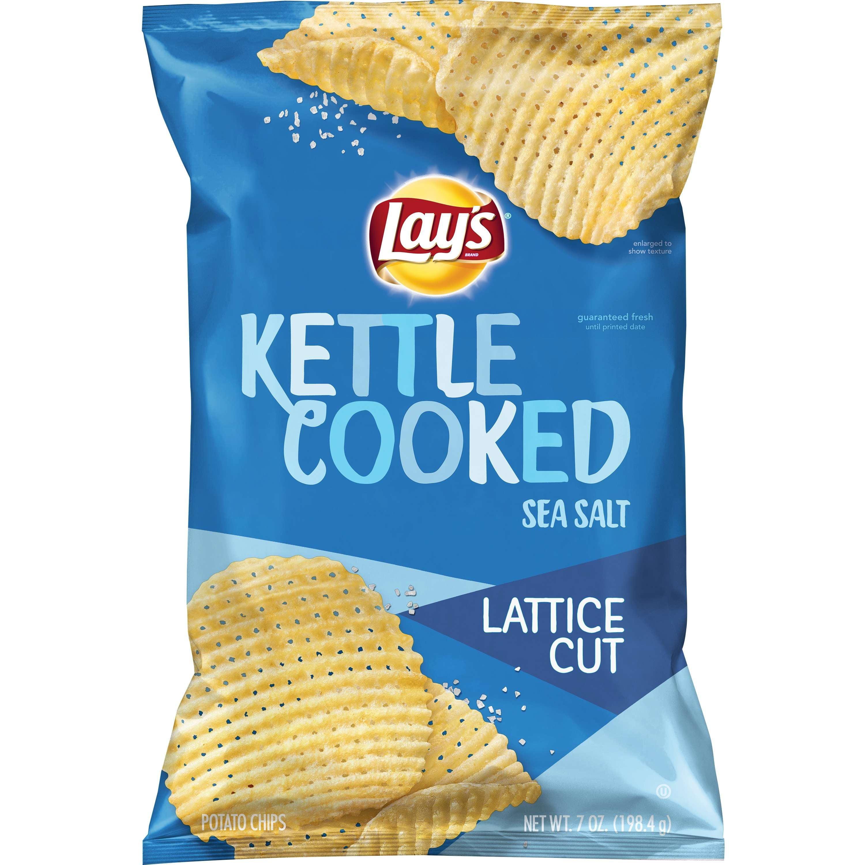 Lay's Kettle Cooked Lattice Cut Potato Chips, Sea Salt, 7oz Bag