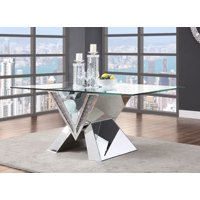 ACME Noralie Dining Table in Mirrored in Faux Diamonds & Clear Glass