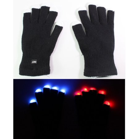 One Pair 7 Mode LED Light Up Flashing Rave Black White Finger Gloves Party