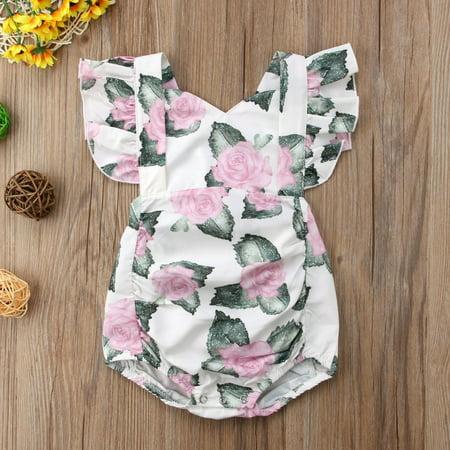 Newborn Infant Baby Girl Floral Romper Jumpsuit Bodysuit Summer Clothes Outfit (Toddler Jumpsuit)