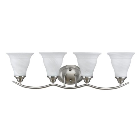 CHLOE Lighting ORELLA Transitional 4 Light Brushed Nickel Bath Vanity Wall Fixture White Etched Glass 30
