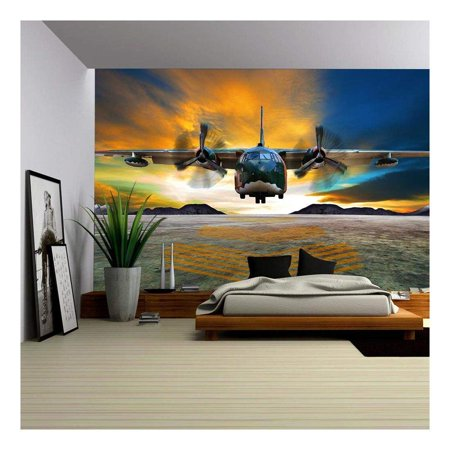 wall26 - Military Plane Landing on Airforce Runways Against Beautiful Dusky Sky - Removable Wall Mural | Self-Adhesive Large Wallpaper - 100x144 inches Air Force Wallpaper
