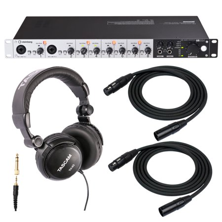 steinberg ur824 usb 2 0 audio interface with headphones and 2 xlr cables. Black Bedroom Furniture Sets. Home Design Ideas