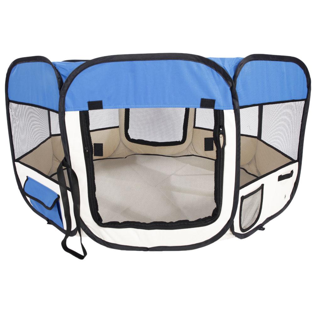 "Ktaxon 45"" Portable Foldable 600D Oxford Cloth & Mesh Pet Playpen Fence with Eight Panels 46cm*59cm Blue"